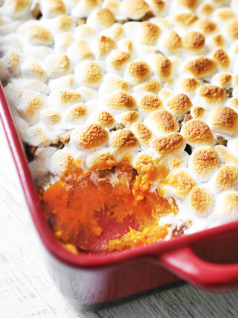 Looking down at sweet potato casserole with marshmallows