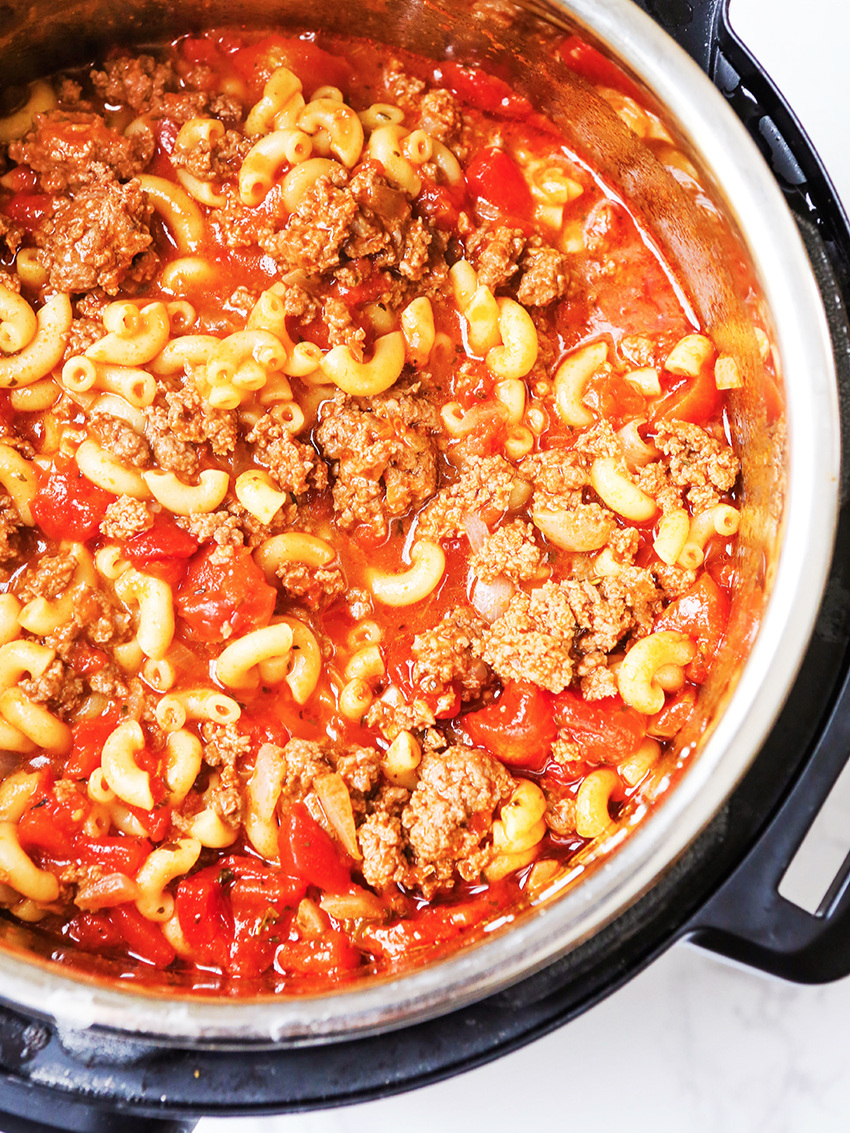 Goulash inside an Instant Pot