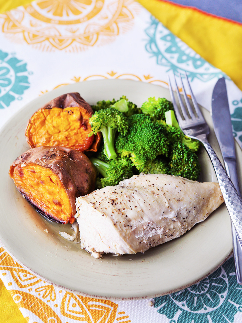 Plate of food with cooked chicken breasts, sweet potatoes and broccoli next to a fork and knife.