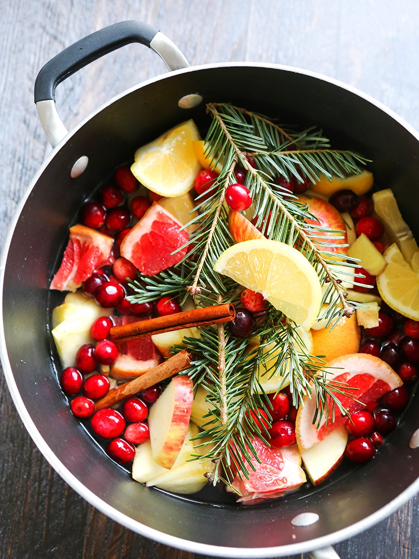saucepan filled with citrus, pine branches and cranberries