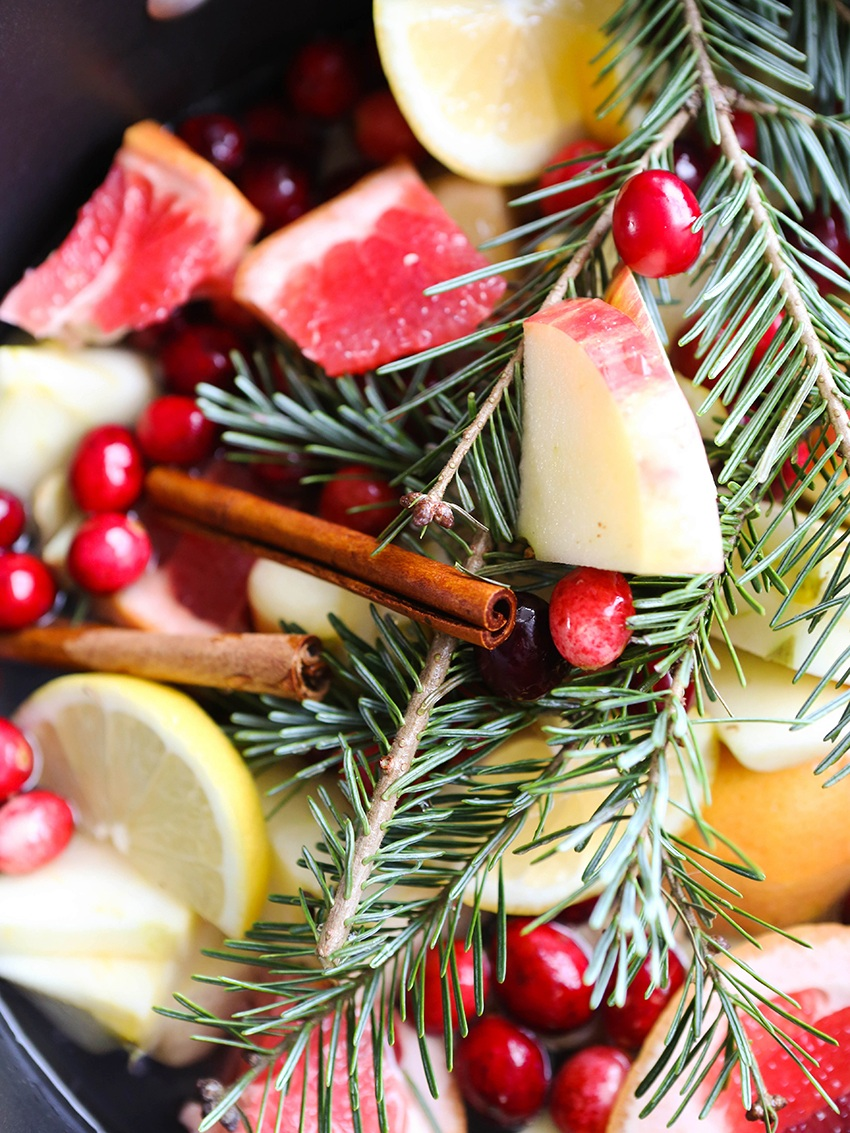 close up of Christmas potpourri ingredients in a saucepan