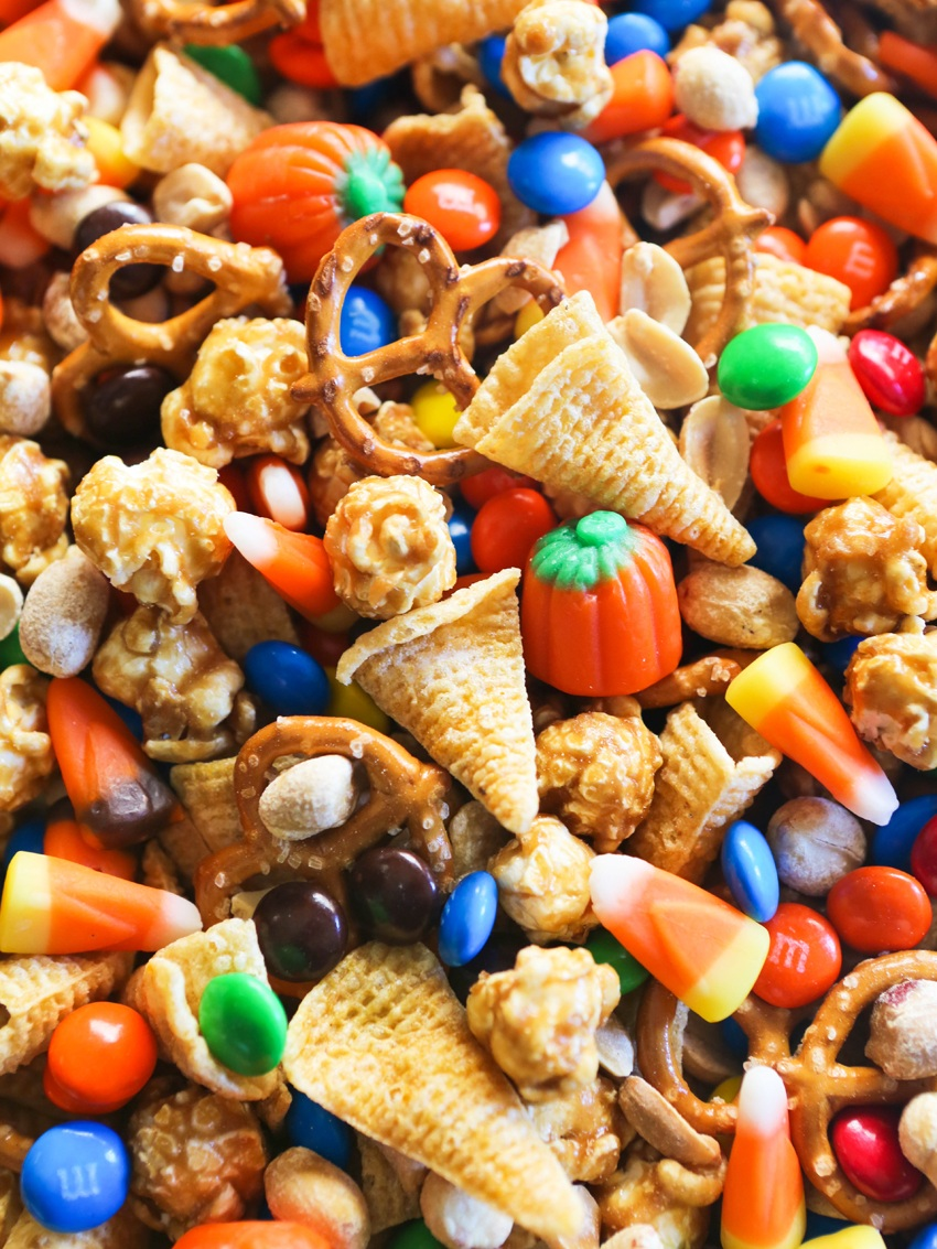 Snack mix with halloween themed ingredients