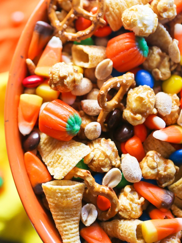 halloween snack mix in a bowl with bugles and candy corn