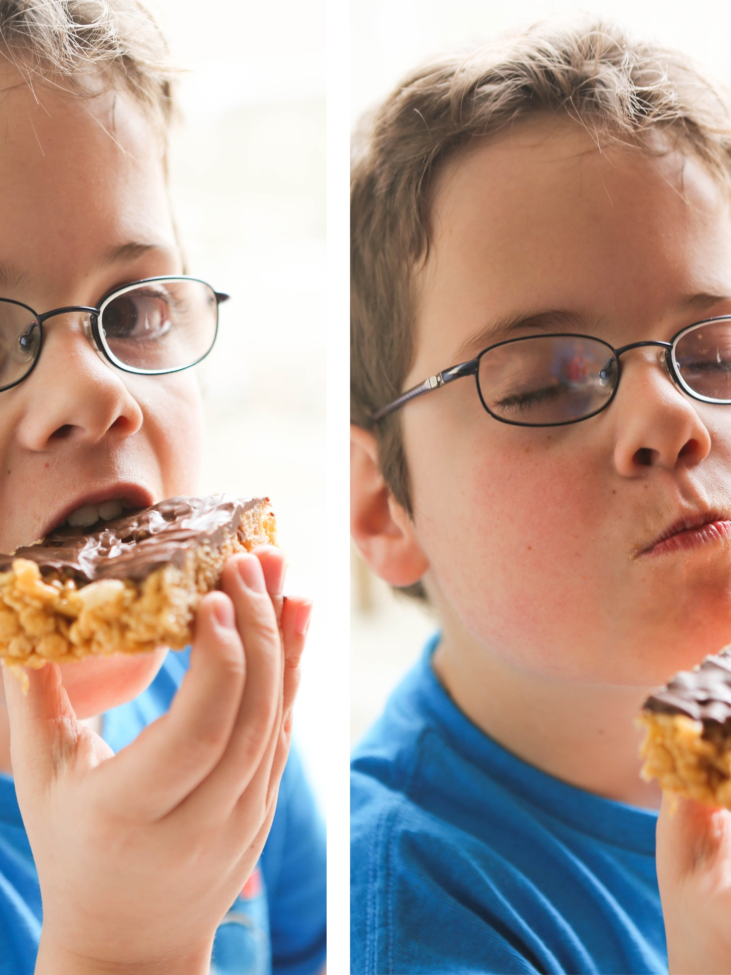 cute boy with glasses biting into a rice krispies treat