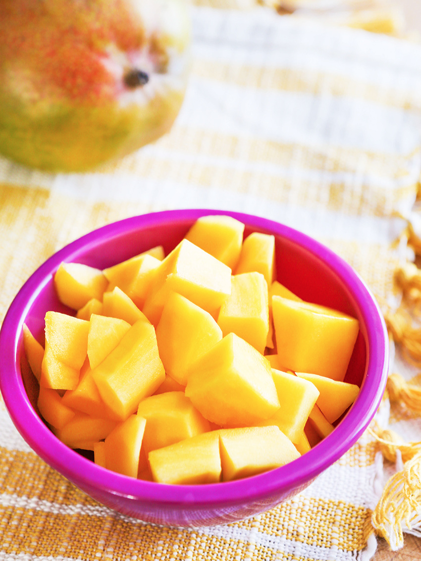 Cut up pieces of mango inside a bowl