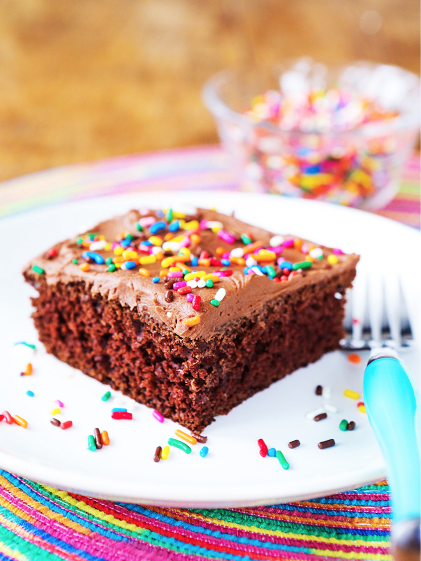 Perfect piece of chocolate cake with colorful sprinkles sitting on a white plate