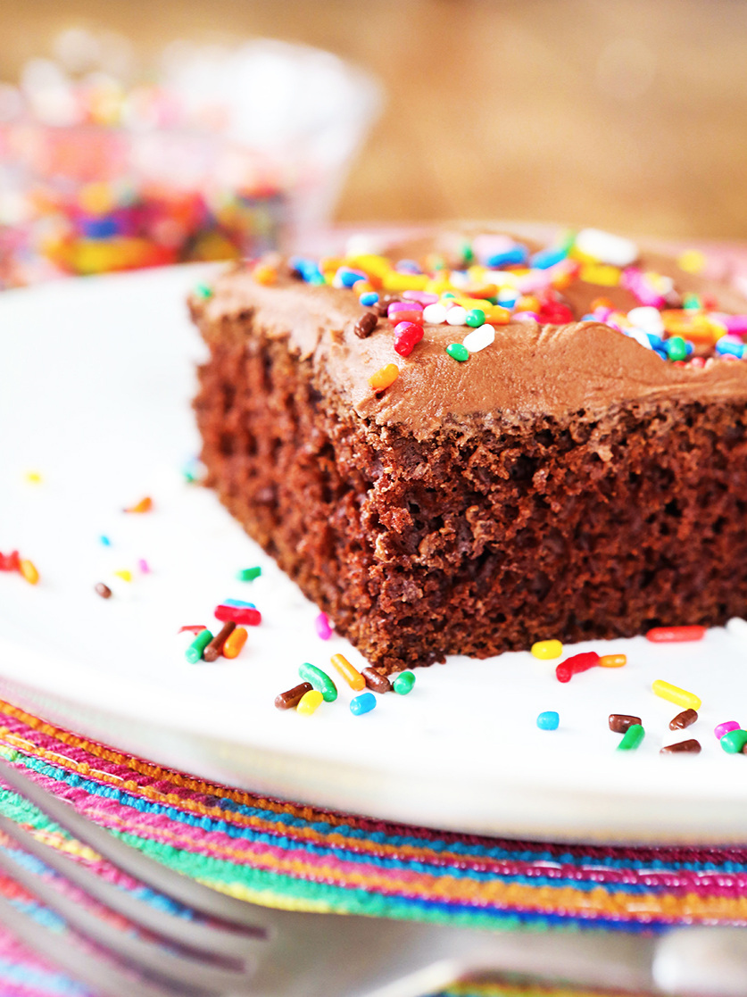close up of a piece of chocolate cake with sprinkles sitting on a plate