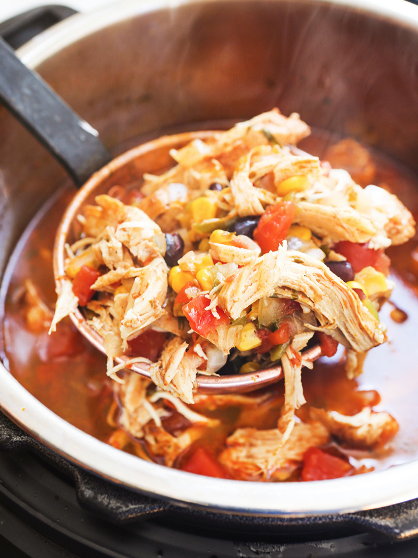 ladle full of shredded chicken and beans and veggies over the instant pot