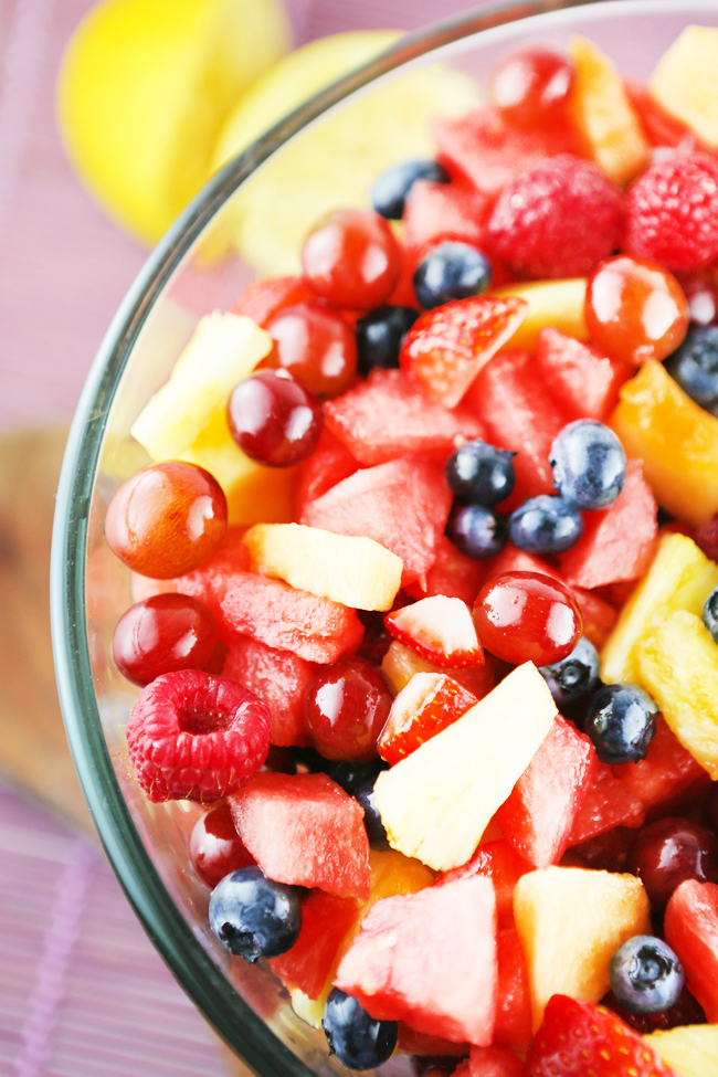 Top view of a bowl of fresh chopped fruit
