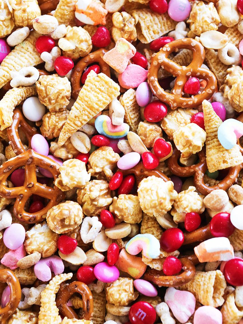 close up of valentine snack mix ingredients