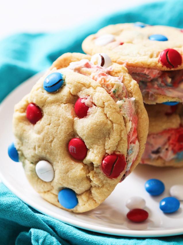 Ice Cream Sandwiches made using M&M's Cookies Recipe