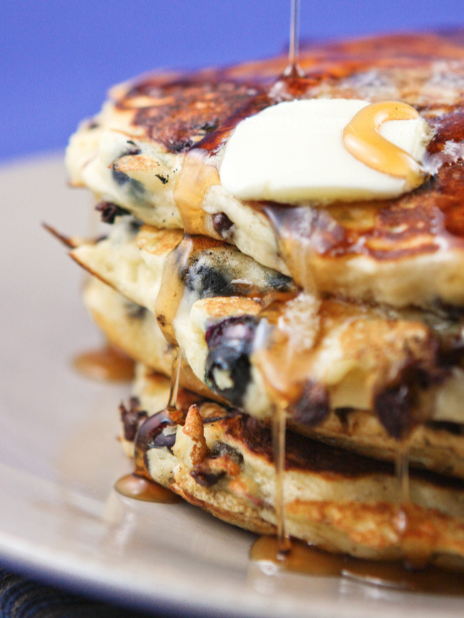 Chocolate Chip Blueberry Buttermilk Pancakes Recipe
