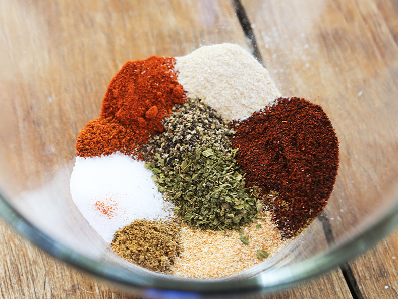 Bowl of spices, ready to be mixed