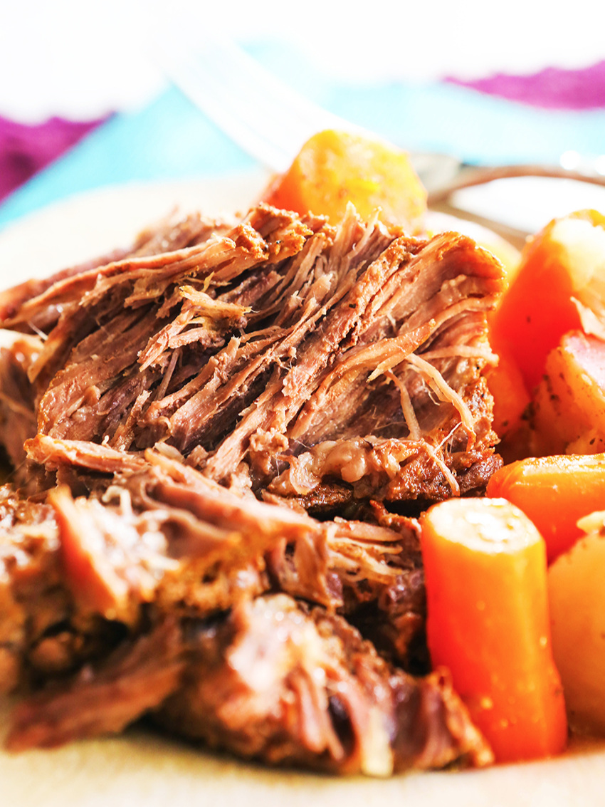 instant pot roast, carrots and potatoes on a plate