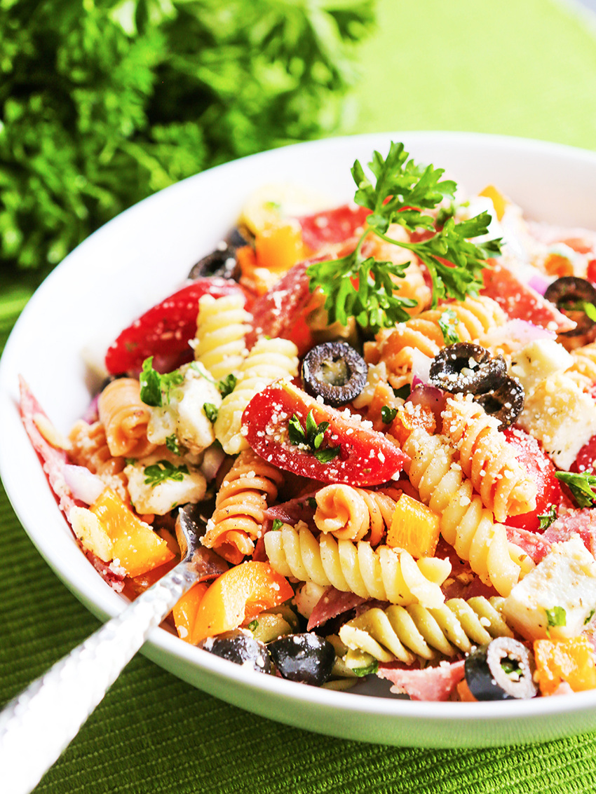 Bowl of Italian Pasta Salad with fork