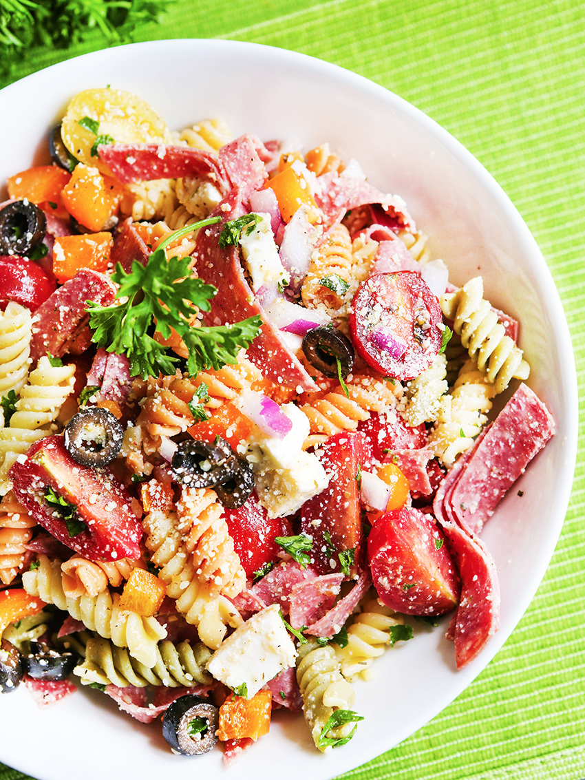 Top view of colorful Italian pasta salad
