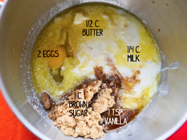 Wet ingredients in mixing bowl