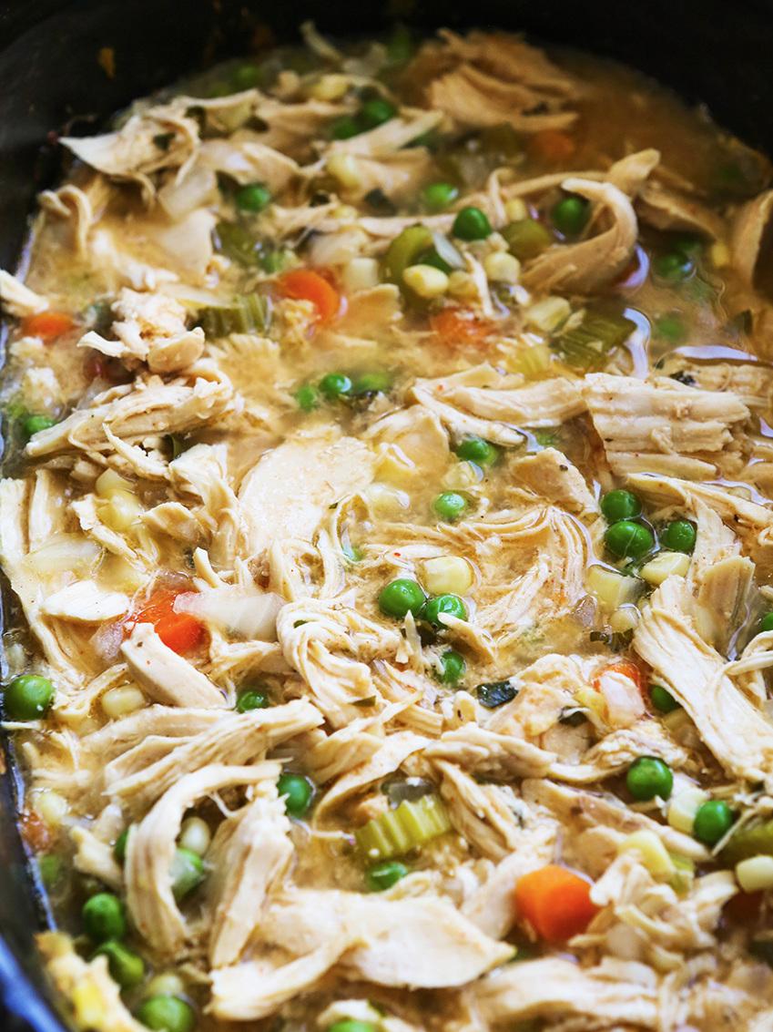 Chicken pot pie mixture in crock pot