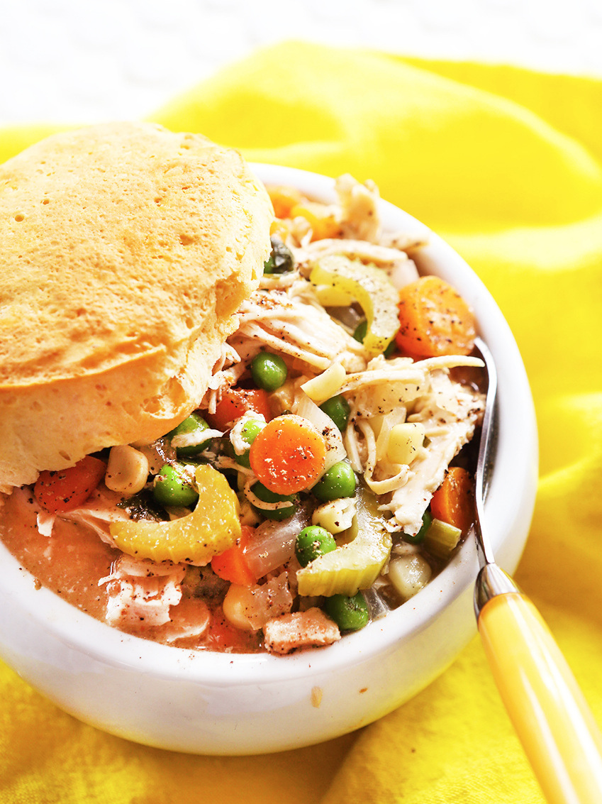 Looking down into bowl of slow cooker chicken pot pie