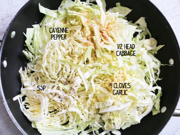 Cabbage with seasonings ready for cooking