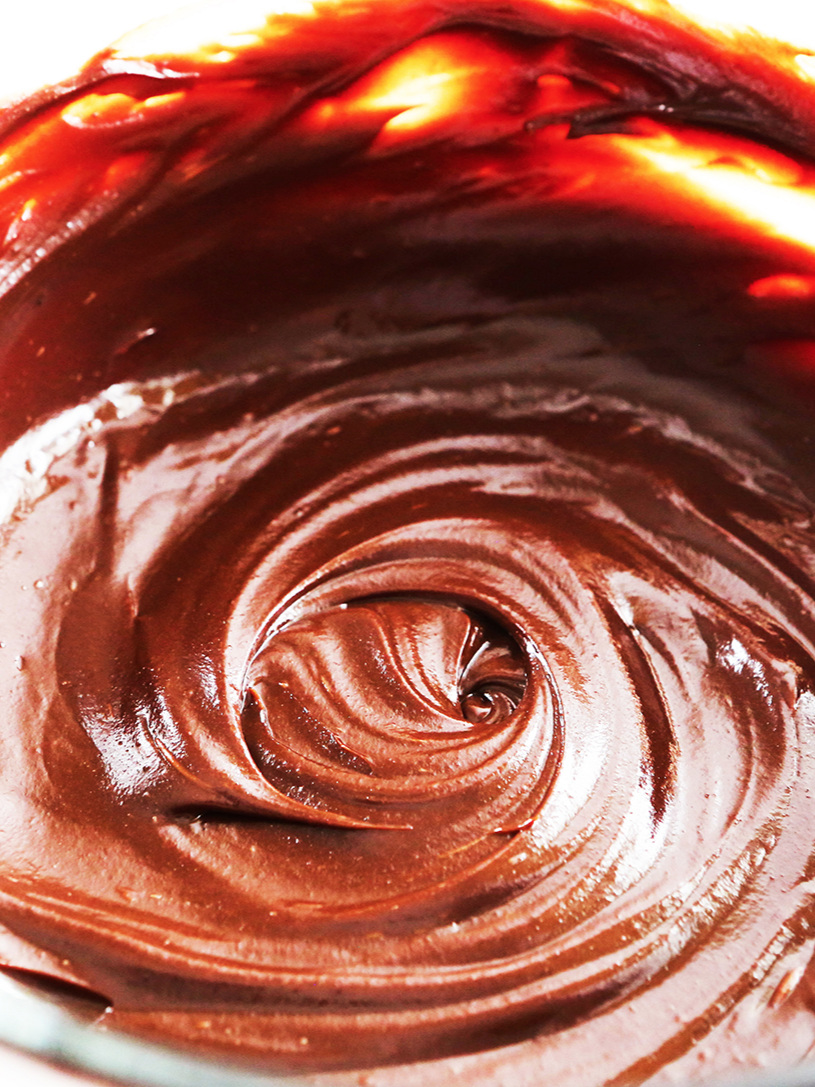 bowl of swirly chocolate ganache
