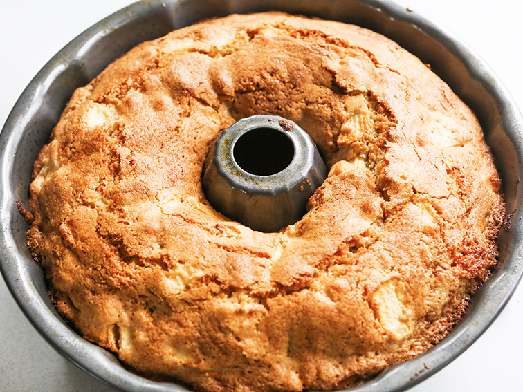 apple bundt cake baked and still in the pan