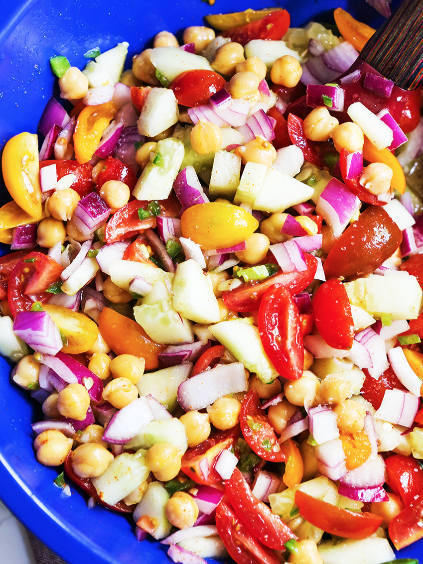 Bowl full of chickpea salad