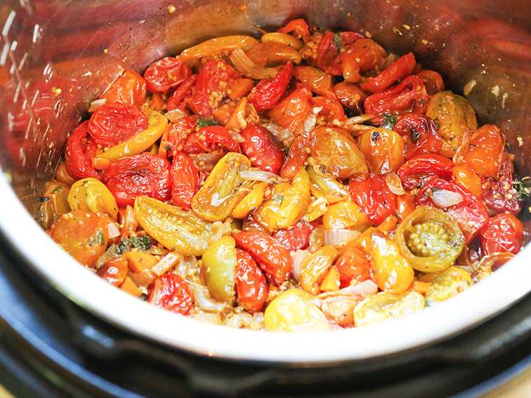 Cooked tomatoes in Instant Pot
