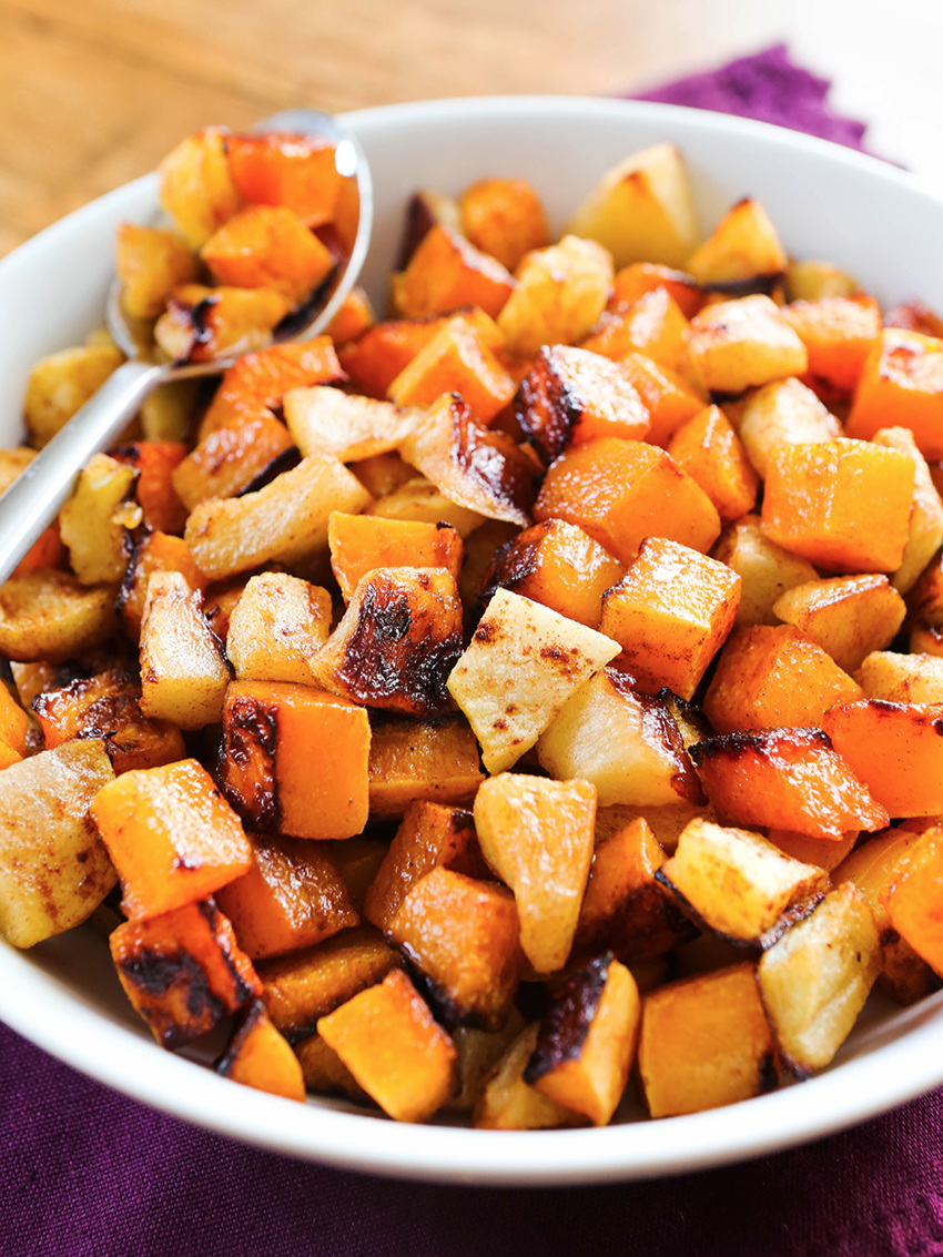 serving bowl filled with cooked butternut squash