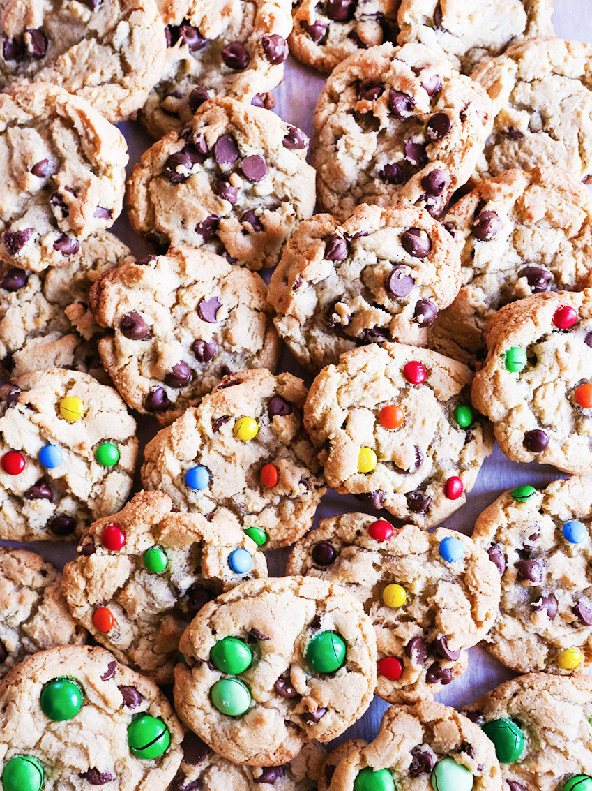 Huge pile of chocolate chip and M&M's cookies