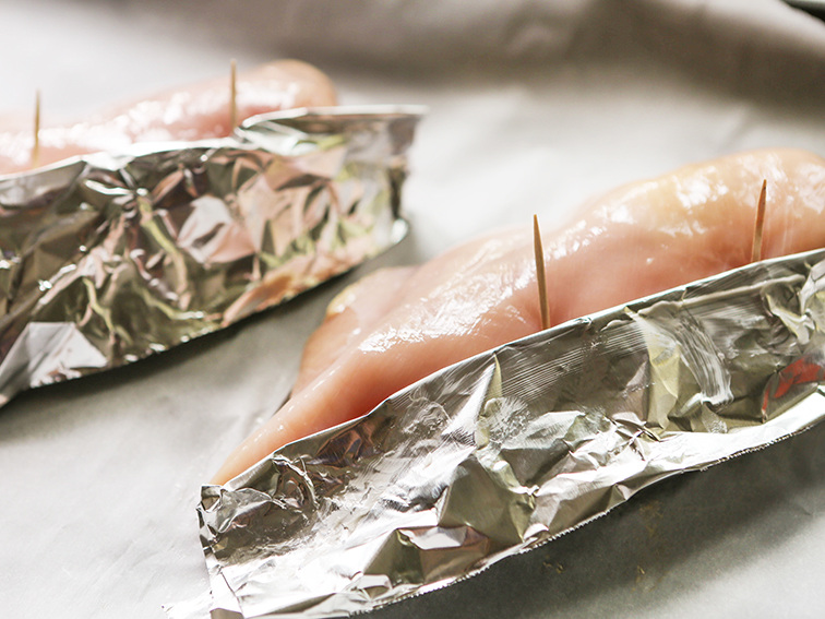 "foil ""tenting"" around stuffing on a chicken breast"