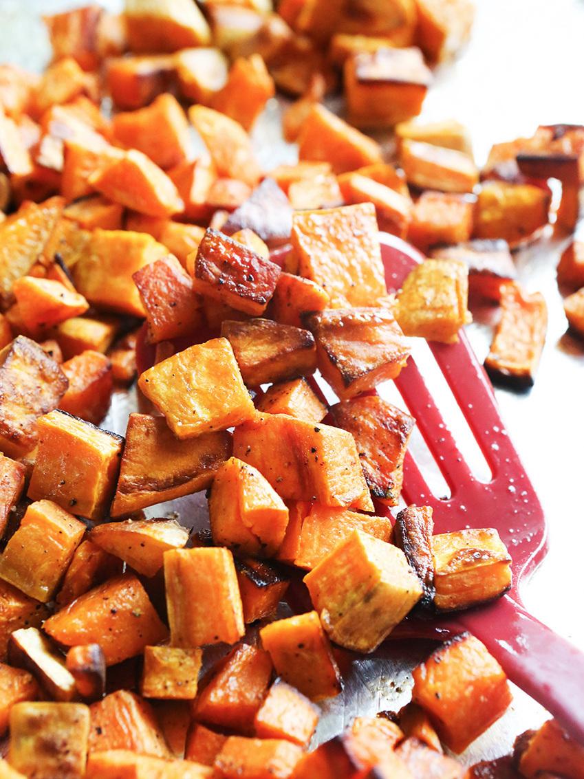 Pan full of roasted sweet potatoes