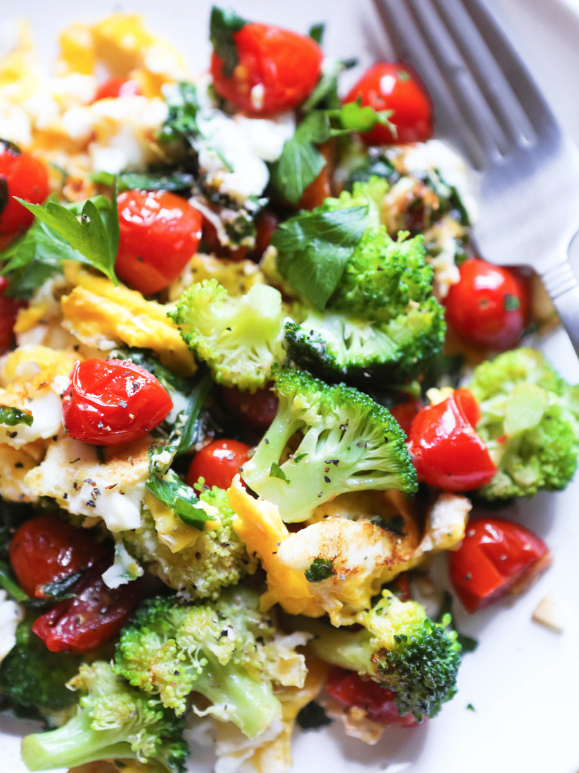 plate of broccoli, tomatoes and eggs