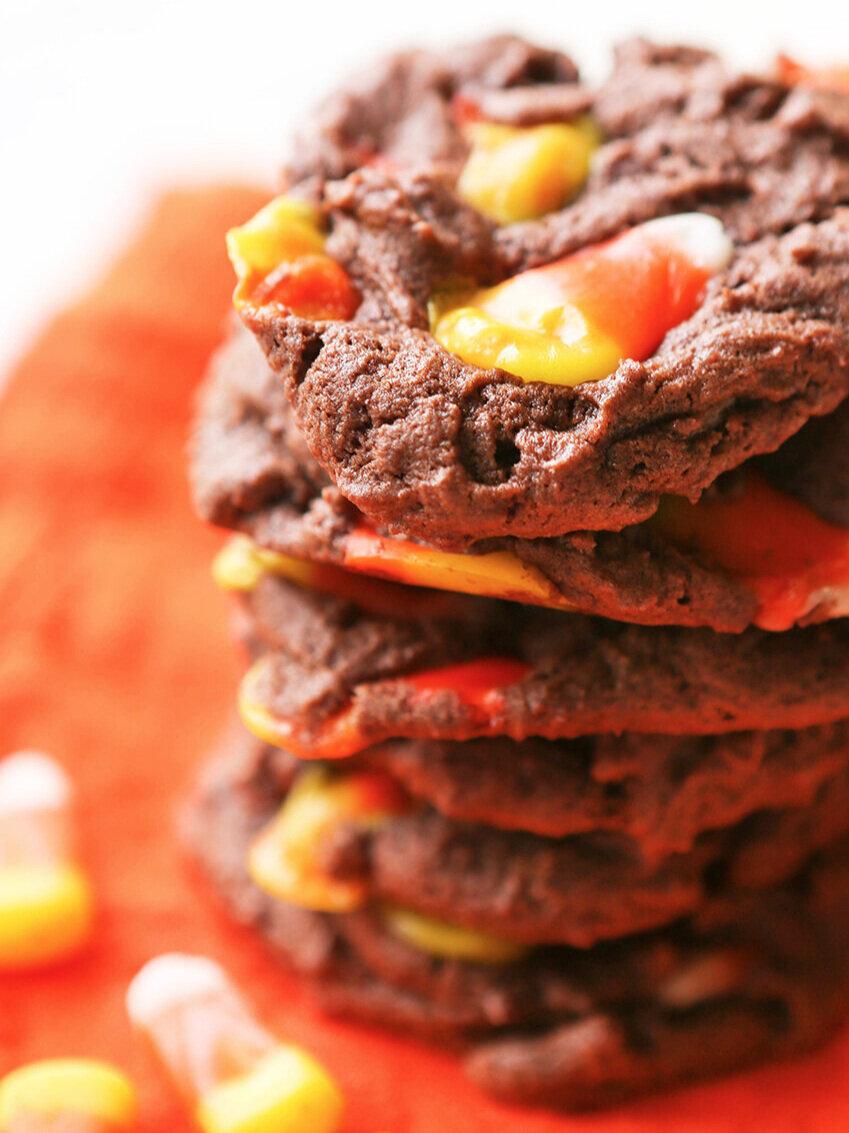 Chocolate Candy Corn Cookies Recipe