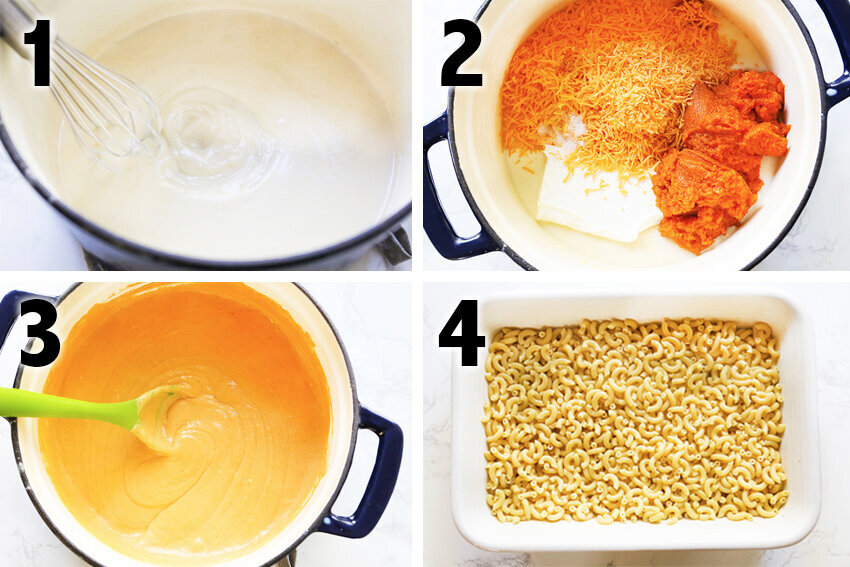 compilation pics of cheese and pasta in pans