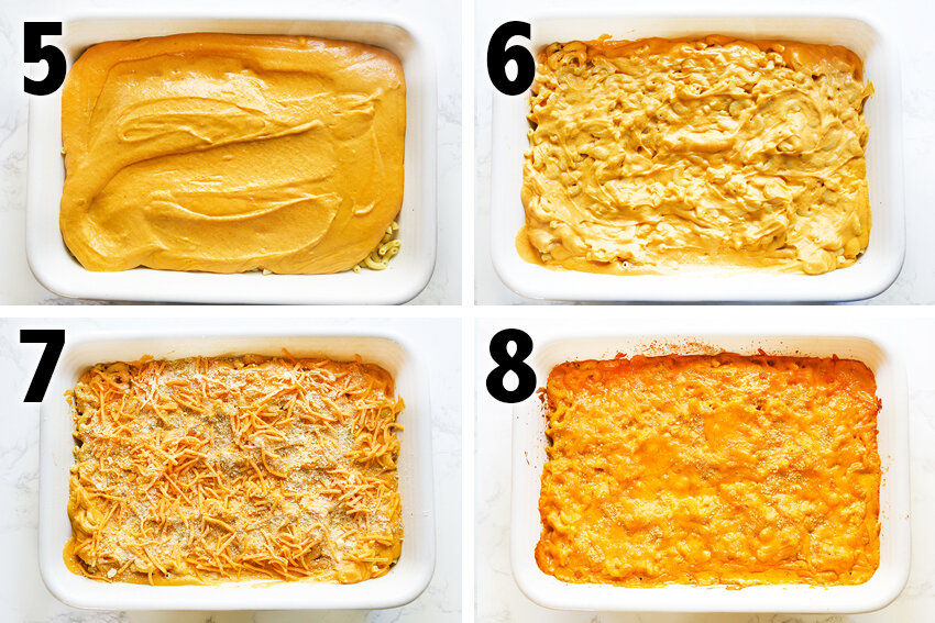 compilation image of different pans with pasta and cheese