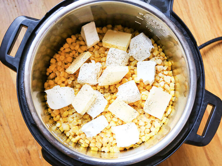 Frozen corn and cream cheese in pressure cooker
