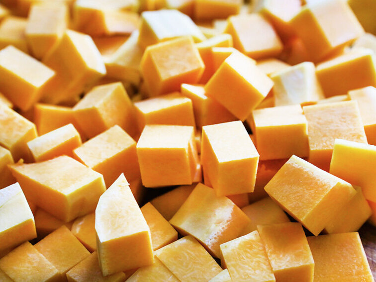 A pile of cubed butternut squash