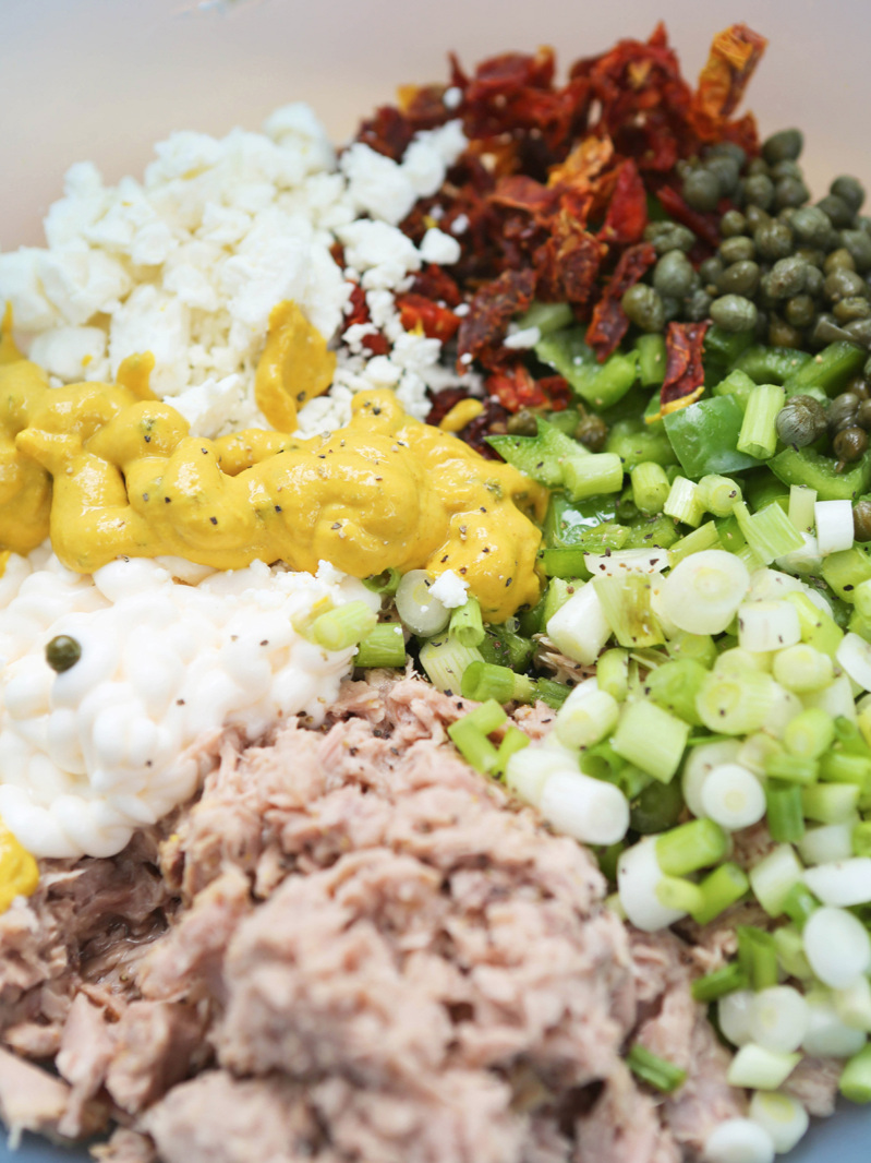 Tuna salad ingredients unmixed