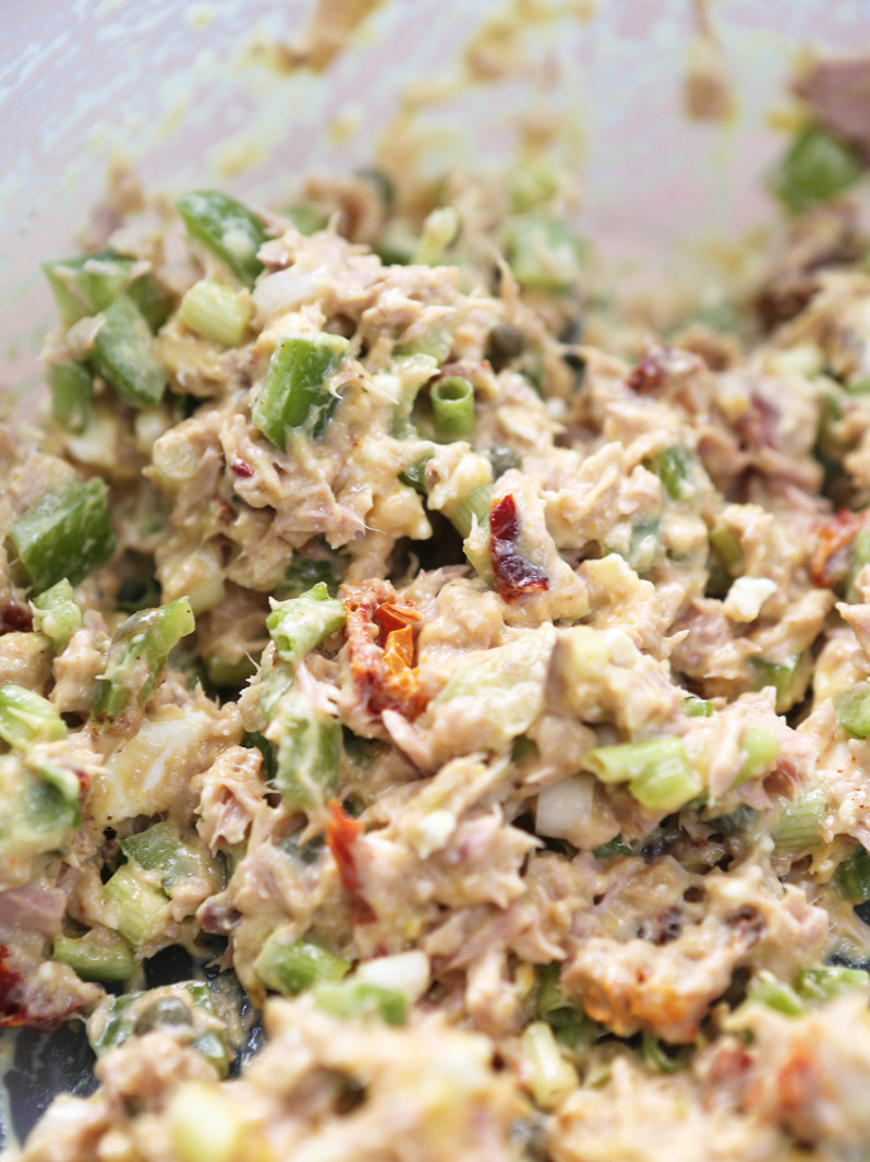 Mixed tuna salad in a bowl