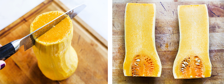 Knife cutting down the center of a butternut squash