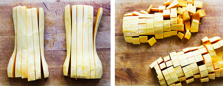 Two photos of slicing, then dicing a butternut squash
