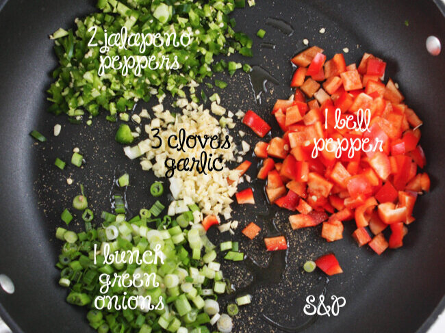 Skillet filled with taco ingredients ready to cook