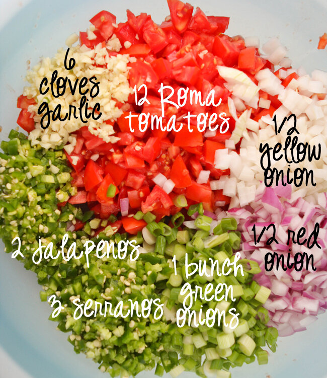 Bowl of salsa ingredients ready to be stirred