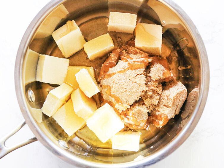 Caramel ingredients in saucepan ready to cook