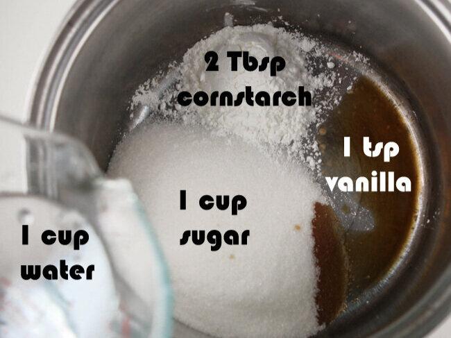 rhubarb crunch topping ingredients in saucepan
