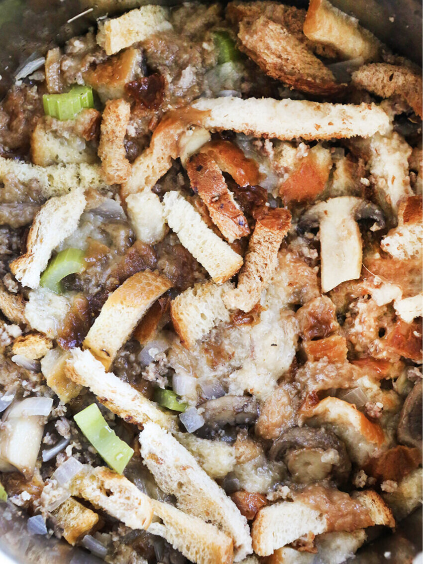 Close up of cooked stuffing in Instant Pot