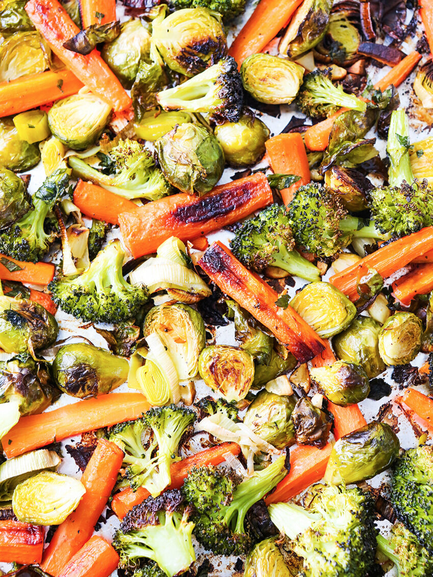 top view of roasted veggies in single layer on baking sheet