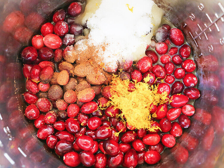 Cranberry sauce ingredients in Instant Pot ready to cook