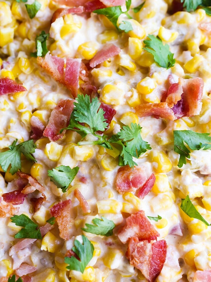 super close up of hot corn dip